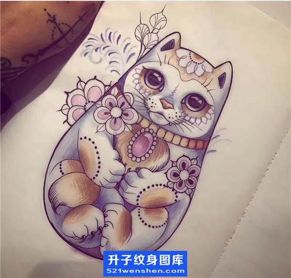 招财猫纹身手稿图案大全 重庆纹身哪里好