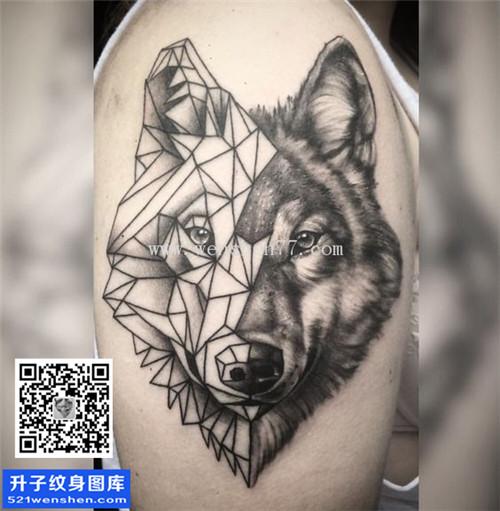 纹身图案  标签: 手臂纹身狼头纹身