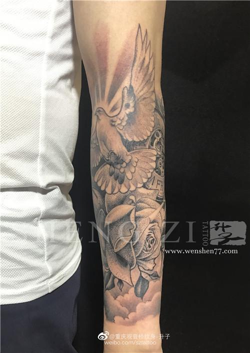 欧美点刺纹身花臂鸽子钟表玫瑰花纹身